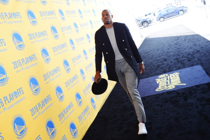 Andre Iguodala #9 of the Golden State Warriors before facing the Oklahoma City Thunder for Game Two of the Western Conference Finals during the 2016 NBA Playoffs on May 18, 2016 at ORACLE Arena in Oakland, California.
