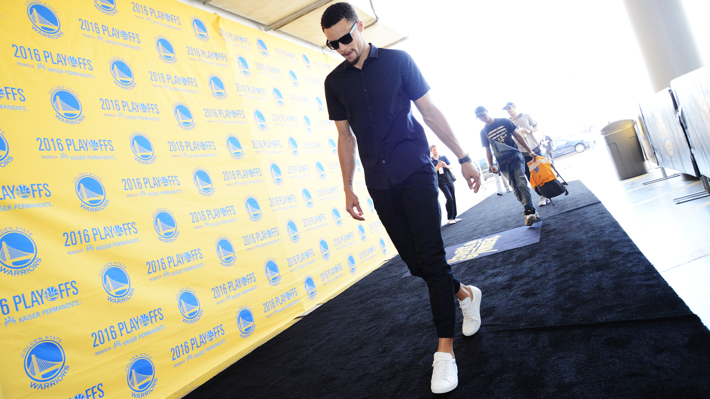 Stephen Curry #30 of the Golden State Warriors before facing the Oklahoma City Thunder for Game Five of the Western Conference Finals during the 2016 NBA Playoffs on May 26, 2016 at ORACLE Arena in Oakland, California.