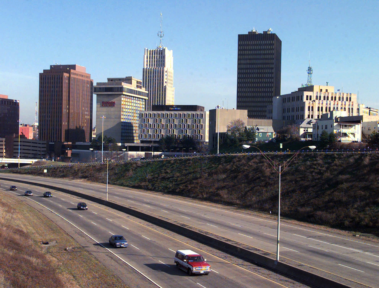 Downtown Akron, Ohio, shown in this Nov. 20, 1997, photo, will receive a visit from President Clinton on Dec. 3. The White House selected Akron for the first town meeting of the president's race initiative because Clinton wanted a Midwest city where whites have been active in programs to promote racial harmony. (AP Photo/Mark Duncan)