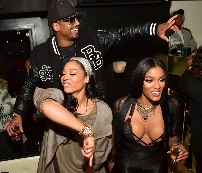 "Mimi Faust, Stevie J and Joseline Hernandez attends the ATL Premiere Of WE Tv's ""Growing Up Hip Hop"" after party at Whiskey Park at W Atlanta - Midtown on January 5, 2016 in Atlanta, Georgia."