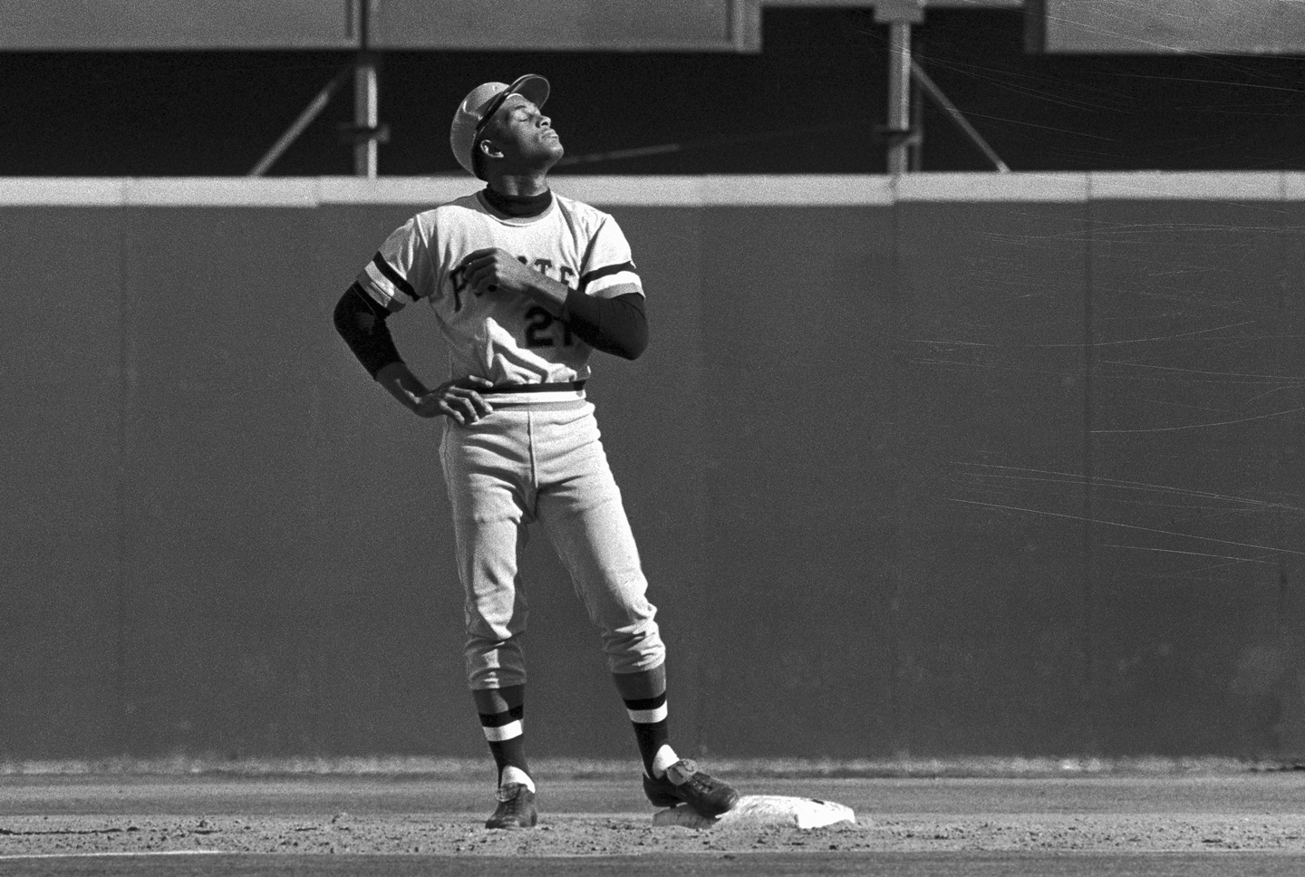 Pirates' Roberto Clemente stands on second base after hitting a double in the 4th inning against the Cincinnati Reds at Riverfront Stadium on October 9, 1972 during game 3 of the National League Playoffs.