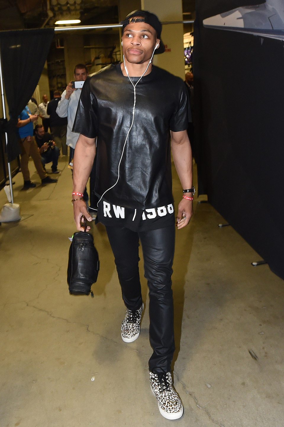 Russell Westbrook #0 of the Oklahoma City Thunder arrives before the game against the Golden State Warriors in Game Five of the Western Conference Finals during the 2016 NBA Playoffs on May 26, 2016 at ORACLE Arena in Oakland, California.