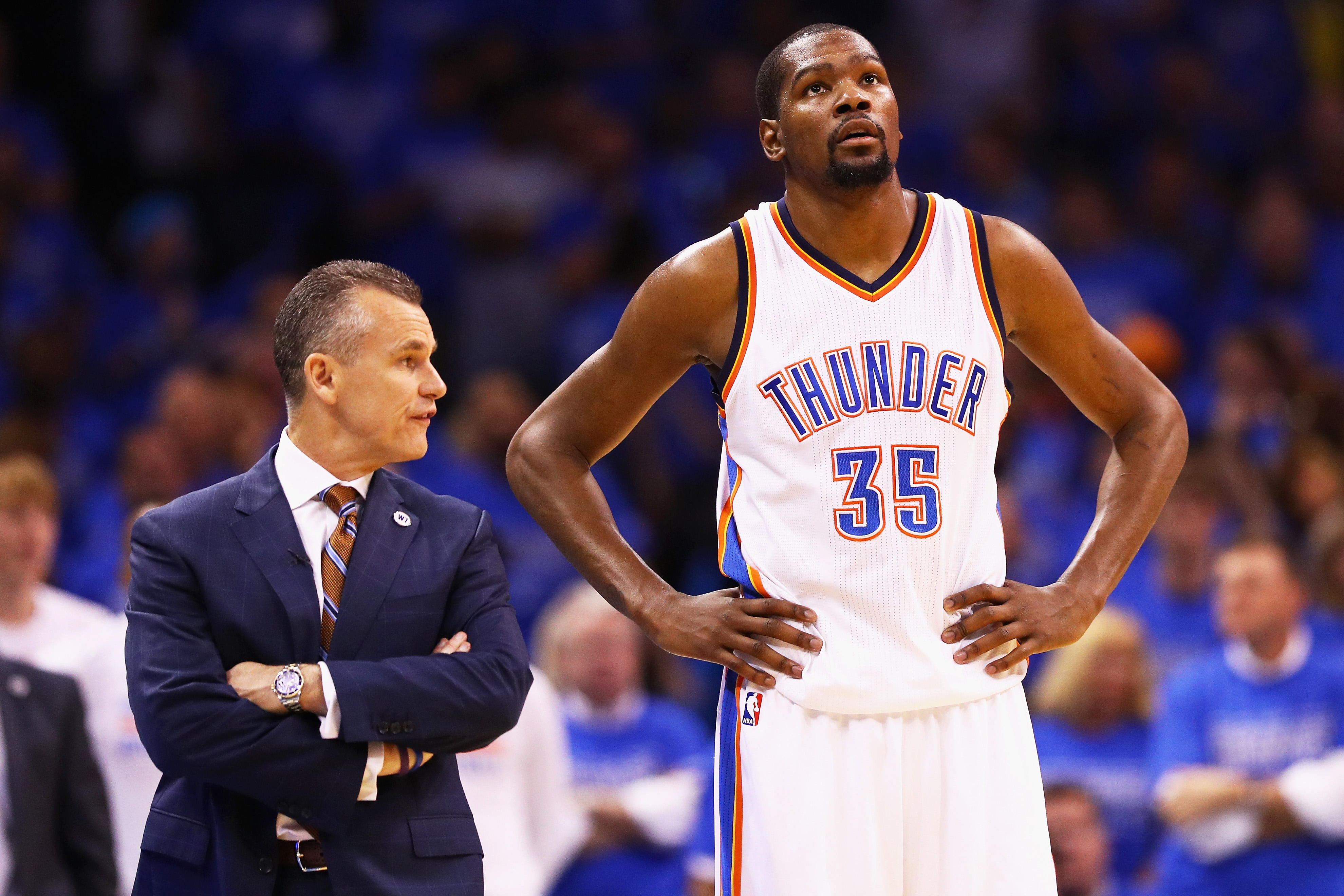 75b4a22ad815 Head coach Billy Donovan of the Oklahoma City Thunder talks with Kevin  Durant  35 during the first half in Game 6 of the Western Conference Finals  against ...
