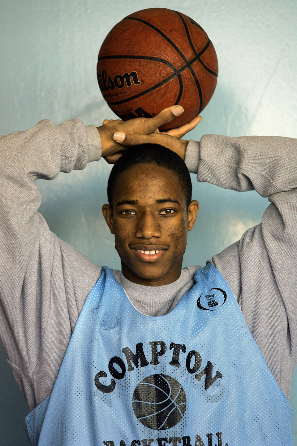"Demar Derozan is a 6'5"" junior at Compton High. He is one of the most athletically gifted basketball players in the area with great leaping ability. He is photographed on 12/20/06 at the school. (Photo by Gary Friedman/Los Angeles Times via Getty Images)"