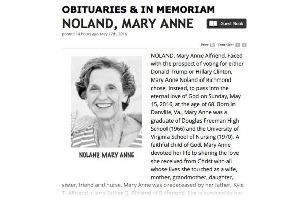 Obituary reads woman would rather die than vote for Clinton