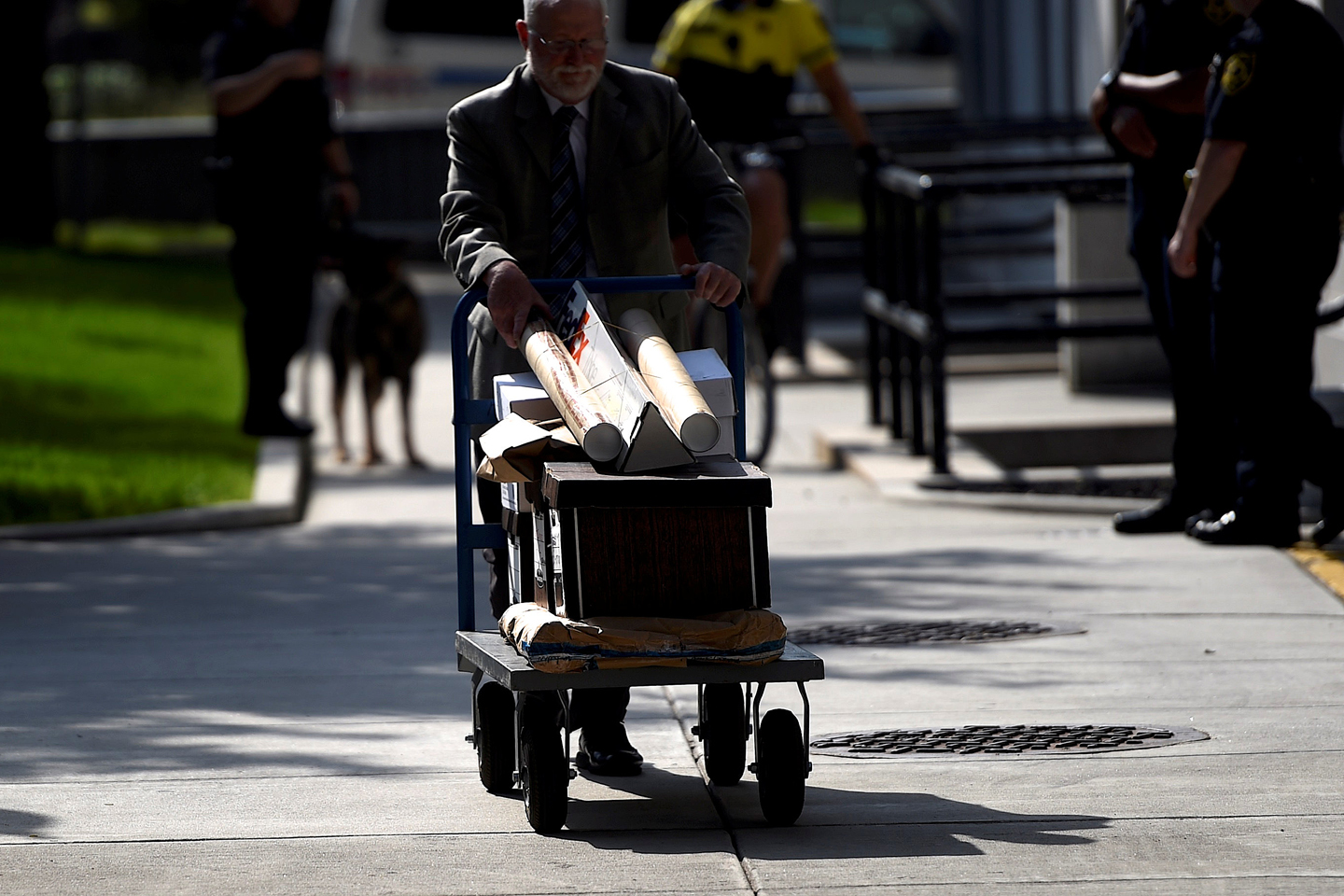 Evidence is wheeled in on a cart before actor and comedian Bill Cosby arrives for a pre-trial hearing on sexual assault charges in Norristown, Pennsylvania May 24, 2016.
