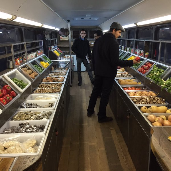 Inside of the St. Louis Metro Market Food Bus