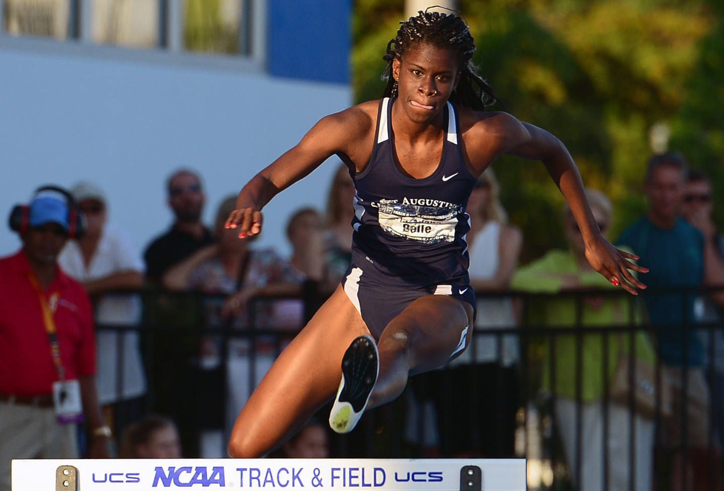 St .Augustine's Tia-Adana Belle gets over a hurdle while running the 400 meters hurdles finals during the NCAA DII Track and Field Championships on May 28, 2016 in Bradenton, Florida, at the IMG Academy.