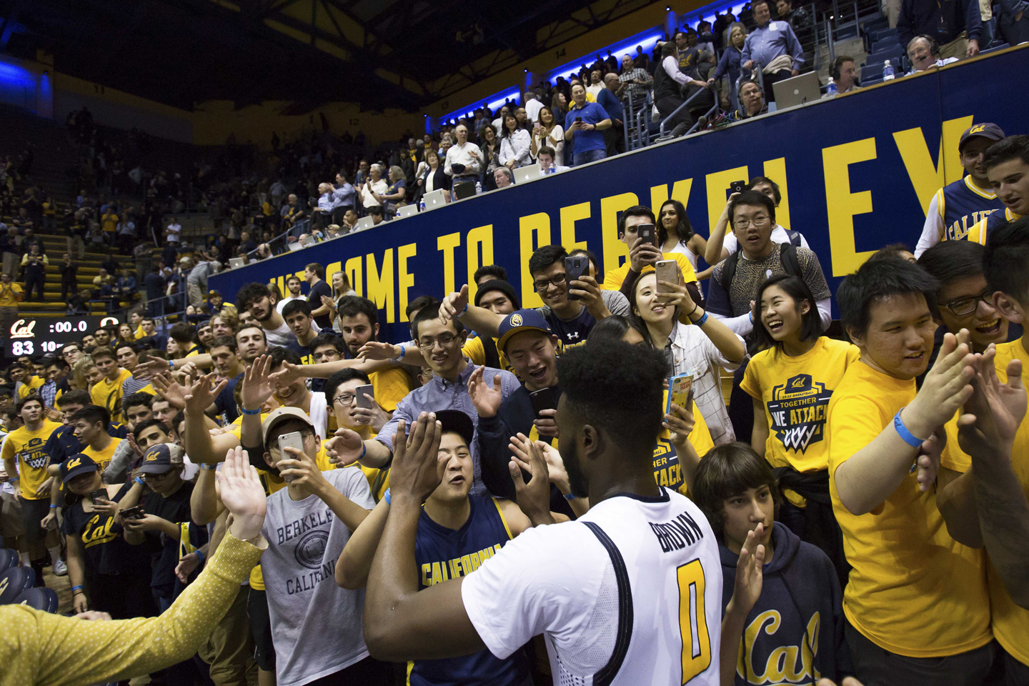 California Golden Bears forward Jaylen Brown (0) celebrates with students after the win at Haas Pavilion. The California Golden Bears defeated the Oregon Ducks 83-63.