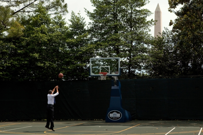President Barack Obama shoots hoops on the White House Basketball Court, May 7, 2010.