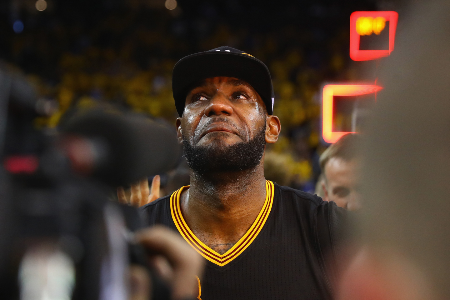 LeBron James #23 of the Cleveland Cavaliers reacts after defeating the Golden State Warriors 93-89 in Game 7 of the 2016 NBA Finals at ORACLE Arena on June 19, 2016 in Oakland, California.
