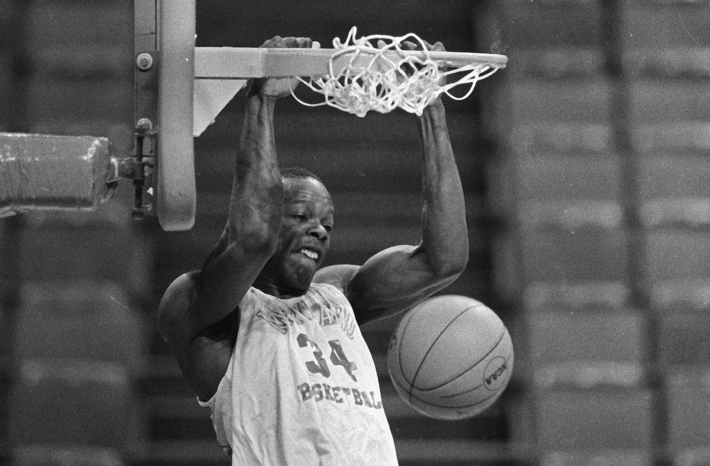 University of Maryland's Len Bias slams home a dunk at the Omni in Atlanta, Ga., March 7, 1985 as the Terrapins prepare for the Atlantic Coast Conference Tournament game against Duke.