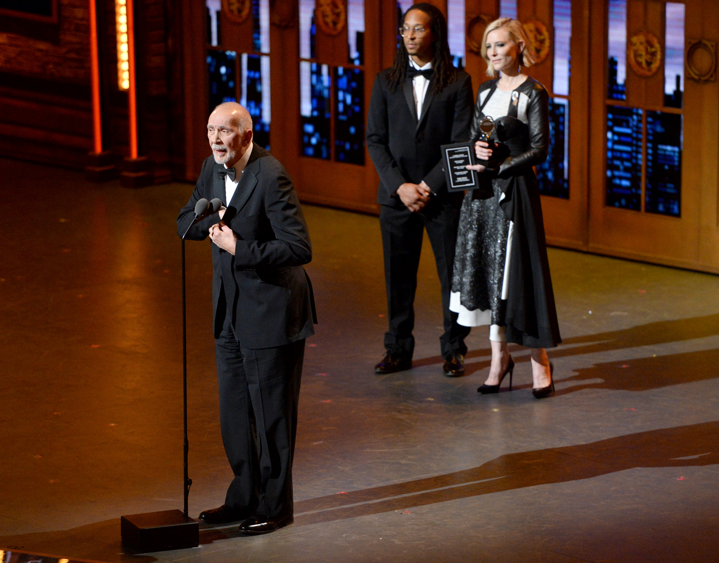 "Frank Langella accepts the award for leading actor in a play for ""The Father"" at the Tony Awards at the Beacon Theatre on Sunday, June 12, 2016, in New York."