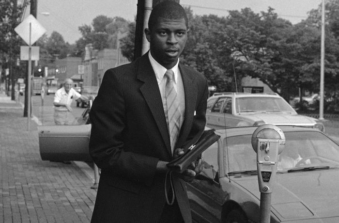 University of Maryland basketball player Keith Gatlin arrives at the Prince George's County courthouse to testify in the cocaine death of basketball star Len Bias in Upper Marlboro, July 22, 1986. Football players and basketball players were called to testify before the grand jury on Tuesday.