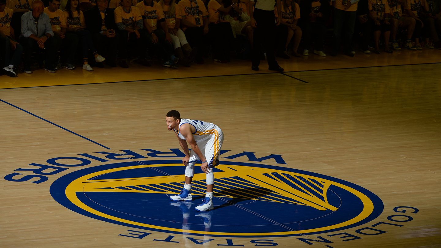 Stephen Curry #30 of the Golden State Warriors stands on the court during Game Two of the 2016 NBA Finals against the Cleveland Cavaliers on June 5, 2016 at ORACLE Arena in Oakland, CA.