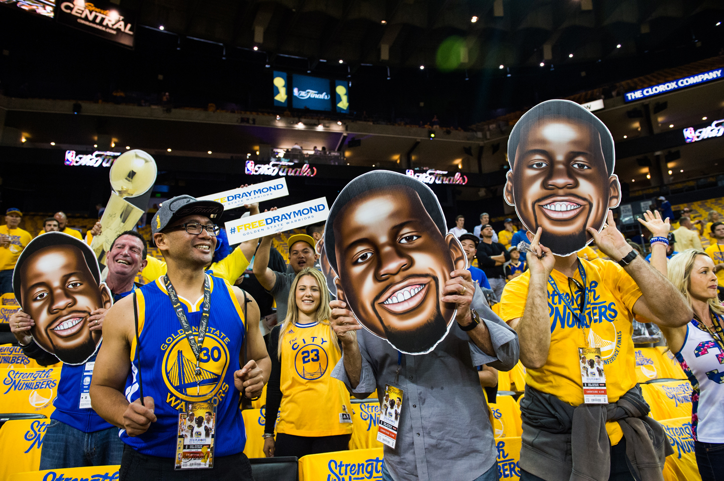 Despite his suspension, Draymond Green is present in spirit as fans have fun with cardboard cut-outs of Green in the stands prior to the start of Game Five of the 2016 NBA Finals. Golden State Warriors against the Cleveland Cavaliers during Game Five of the 2016 NBA Finals at ORACLE Arena on June 13, 2016 in Oakland, California.
