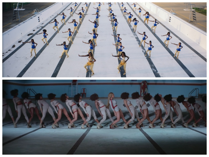 "Above: a scene from ""The Fits."" Below: Beyoncé and her dancers in ""Formation."""