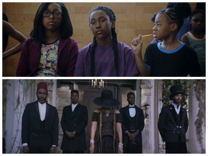 "Above: Royalty Hightower as Toni in ""The Fits."" Below: Beyoncé in a scene from ""Formation."""
