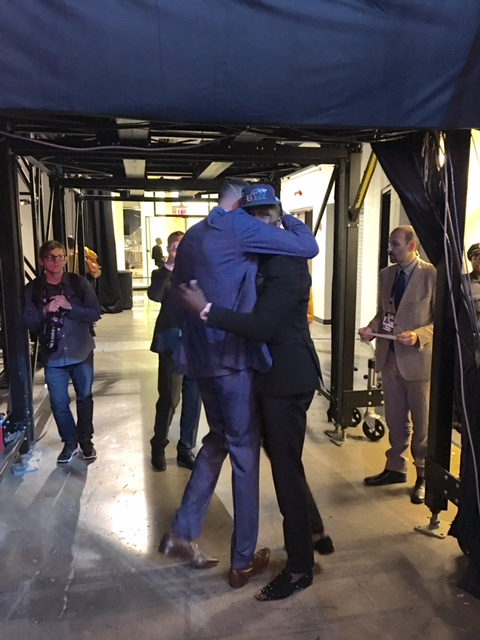 Taurean Prince and Isaiah Austin embrace at the 2016 NBA Draft. Prince and Austin were teammates at Baylor.