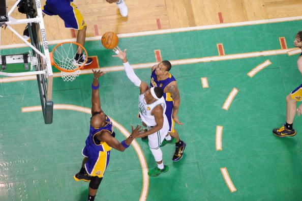 BOSTON - JUNE 8: Rajon Rondo #9 shoots during Game Three of the 2010 NBA Finals on June 8, 2010 at TD Garden in Boston, Massachusetts. NOTE TO USER: User expressly acknowledges and agrees that, by downloading and/or using this Photograph, user is consenting to the terms and conditions of the Getty Images License Agreement. Mandatory Copyright Notice: Copyright 2010 NBAE (Photo by Noah Graham/NBAE via Getty Images)