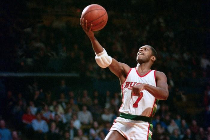 Nate Archibald, No. 7 of the Milwaukee Bucks, circa 1983 at the MECCA Arena in Milwaukee, Wisconsin.
