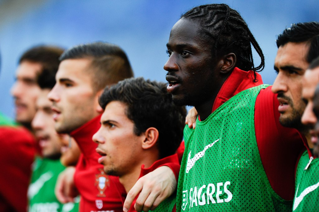 Eder (R) of Portugal looks on prior to the FIFA 2014 World Cup Qualifier match between Portugal and Luxembourg at Estadio Cidade de Coimbra on October 15, 2013 in Coimbra, Portugal.