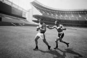 Boxer Ken Norton Chases Muhammad Ali in Yankee Stadium
