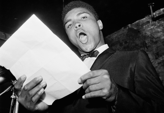 Cassius Clay Performing in Poetry Reading Contest