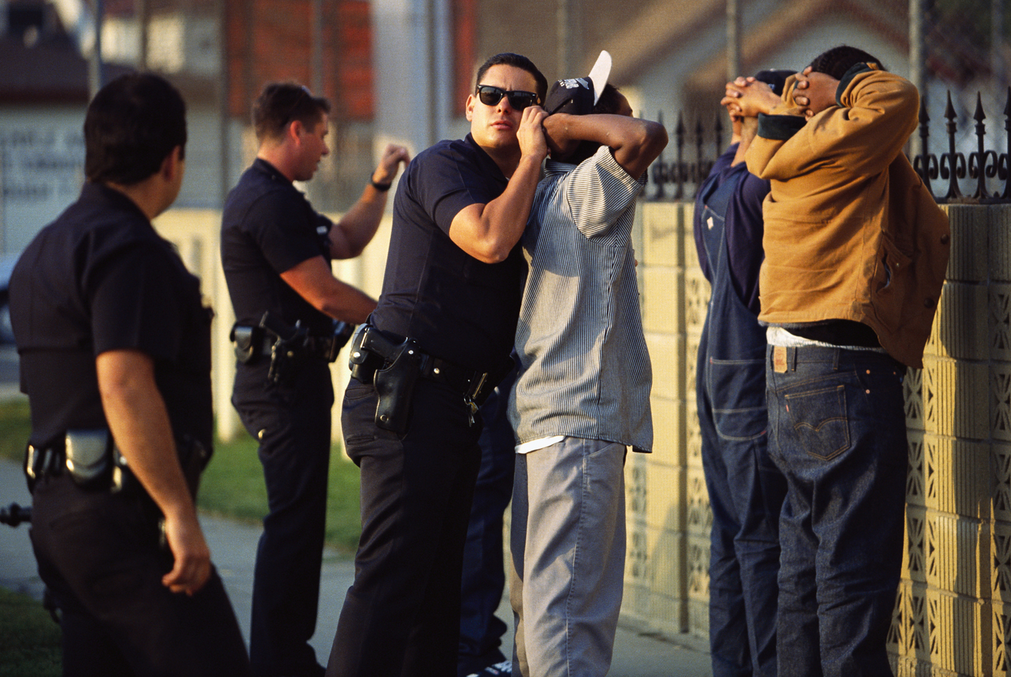 Los Angeles police check individuals in South Central LA during Rodney King trial.