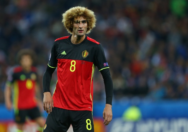 LYON, FRANCE - JUNE 13: Marouane Fellaini of Belgium during the UEFA EURO 2016 Group E match between Belgium and Italy at Stade des Lumieres on June 13, 2016 in Lyon, France. (Photo by Catherine Ivill - AMA/Getty Images)