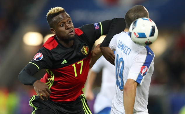 LYON, FRANCE - JUNE 13: Divock Origi of Belgium vies with Leonardo Bonucci of Italy during the UEFA EURO 2016 Group E match between Belgium and Italy at Stade des Lumieres on June 13, 2016 in Lyon, France. (Photo by Ian MacNicol/Getty Images)