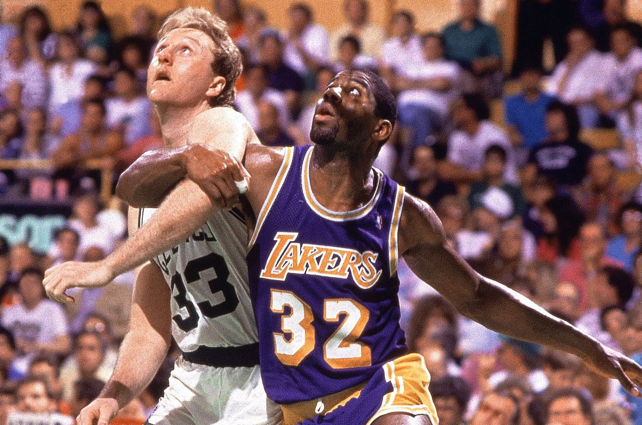 Larry Bird #33 of the Boston Celtics battles for position against Magic Johnson #32 of the Los Angeles Lakers at the Boston Garden during the 1987 NBA Finals.