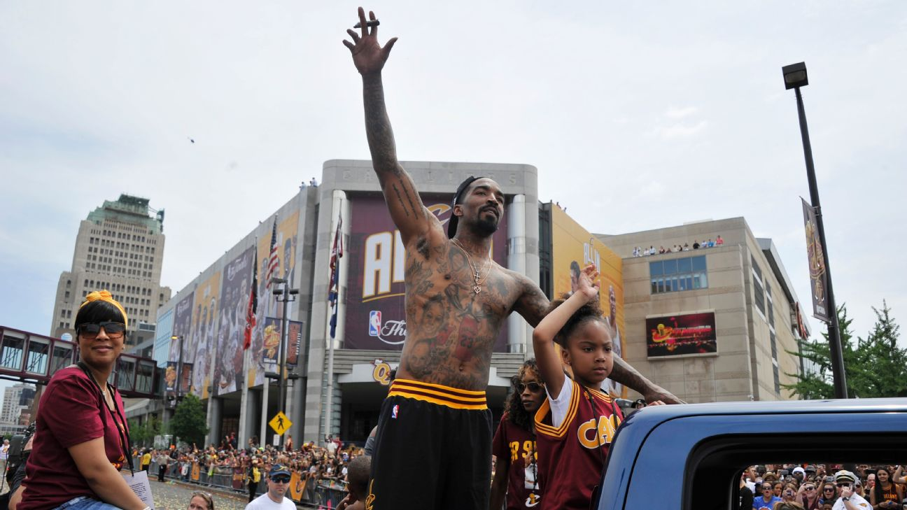 J.R. Smith #5 of the Cleveland Cavaliers waves to the fans during the Cleveland Cavaliers Victory Parade And Rally on June 22, 2016 in downtown Cleveland, Ohio.