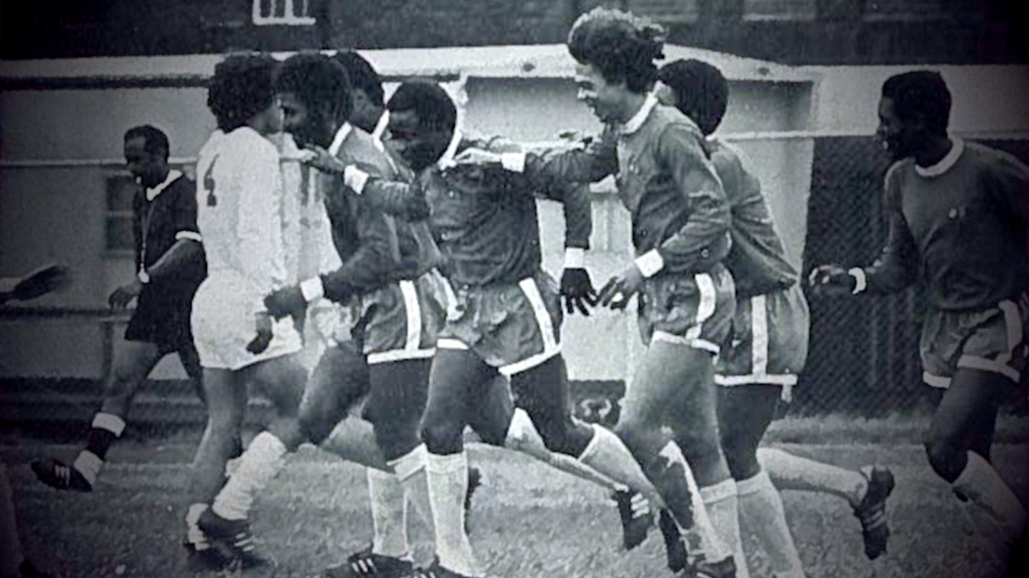 Howard University players celebrate a goal in 1971 National Championship game.