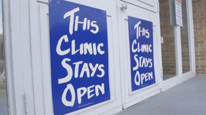 A scene from Montgomery, Alabama's Reproductive Health Services clinic, captured in trapped.