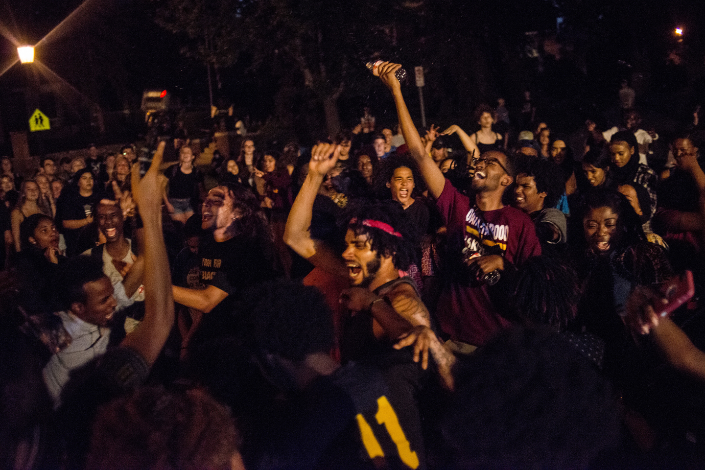 Protestors dance outside the Governor's Mansion on July 10, 2016 in St. Paul, Minnesota. The area outside the Governor's Mansion has been occupied by demonstrators since the night Philando Castile was killed by police on July 6, 2016.