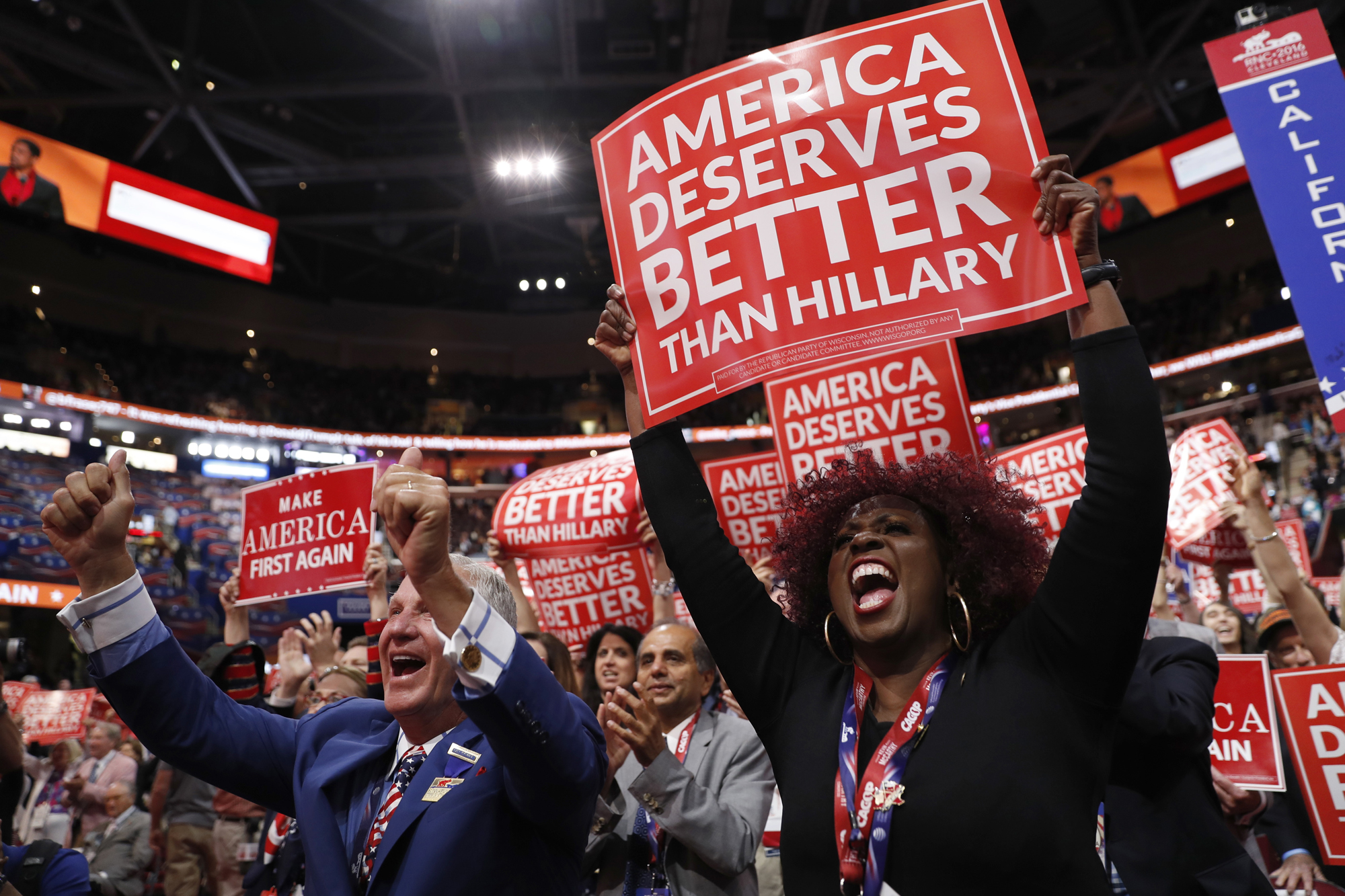 California delegate Shirley Hussar, right and her fellow delegates cheer during the third day session of the Republican National Convention in Cleveland, Wednesday, July 20, 2016.