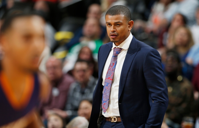 Phoenix Suns head coach Earl Watson in the first half of an NBA basketball game Thursday, March 10, 2016, in Denver.