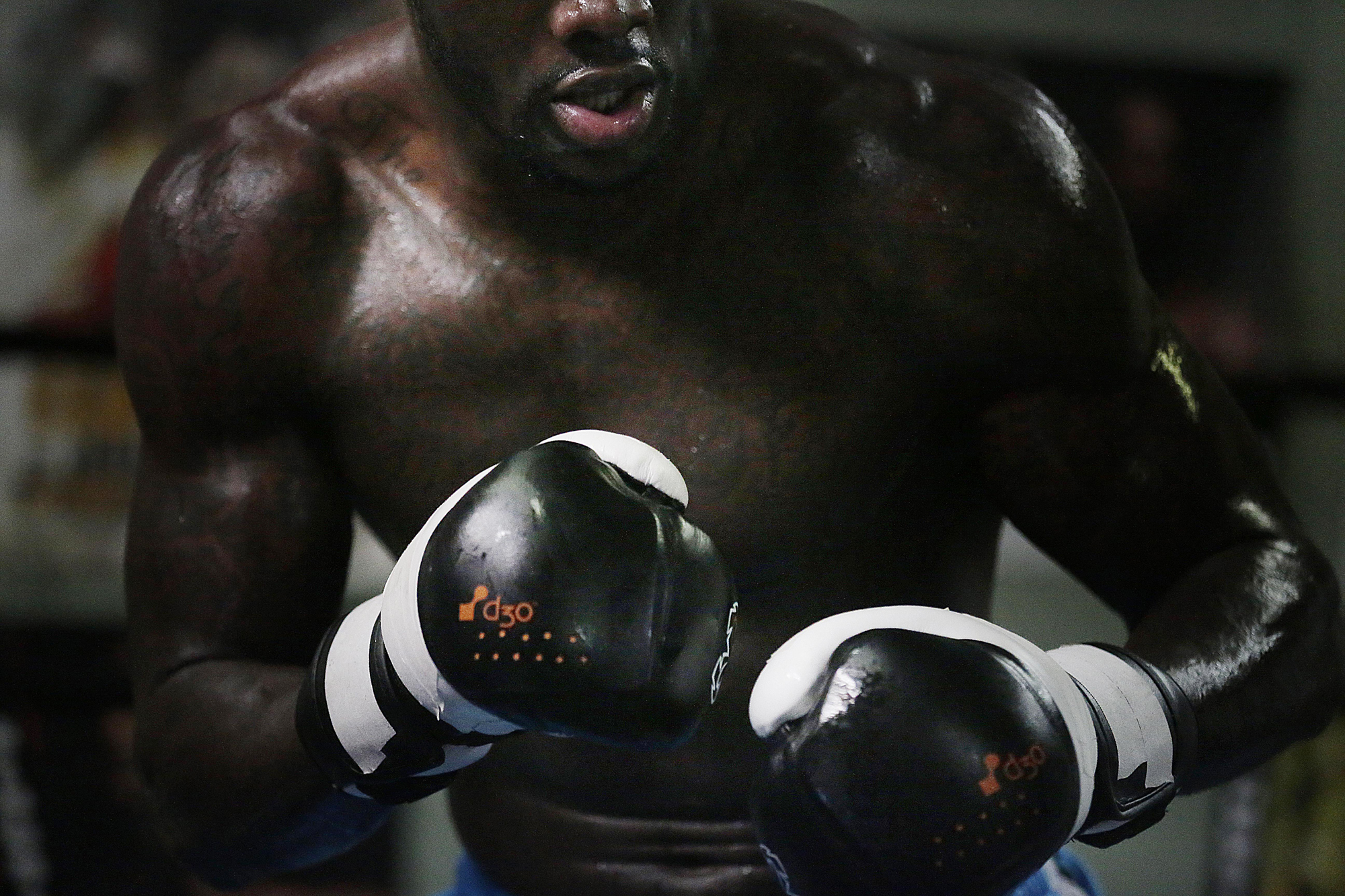 WBC heavyweight boxing champion Deontay Wilder works out at Skyy Boxing Gym in Northport, Ala. Wilder's fight at Bartow Area in Birmingham this Saturday night against Eric Molina, is being dubbed a homecoming for the champion.