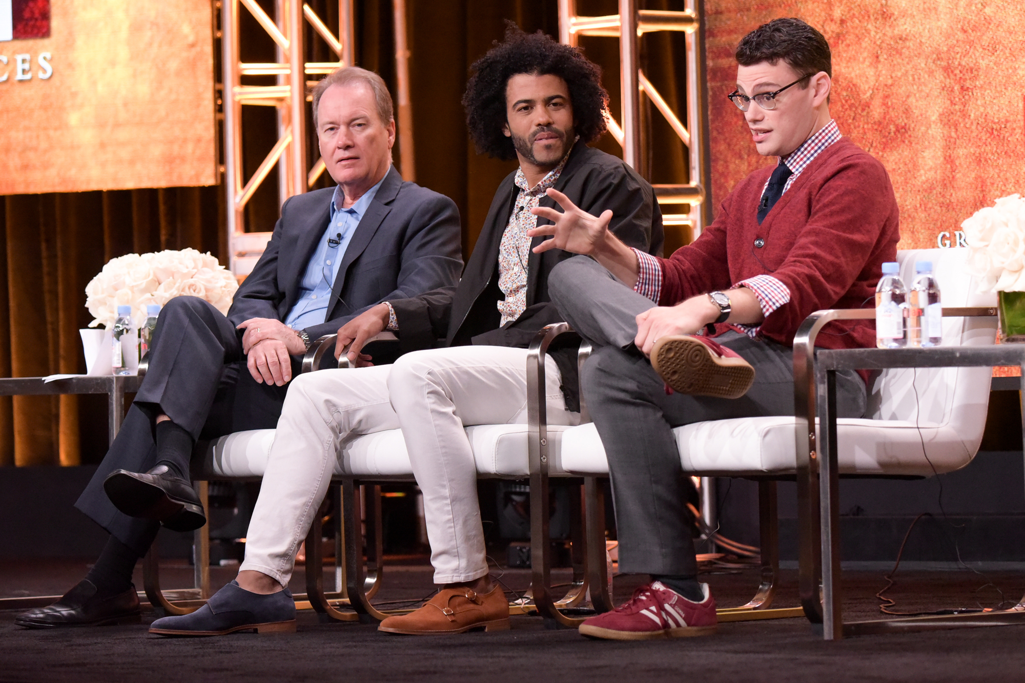 "David Horn, from left, Daveed Diggs and Alex Horwitz participate in the ""Hamilton's America"" panel during the PBS Television Critics Association summer press tour on Thursday, July 28, 2016, in Beverly Hills, Calif."