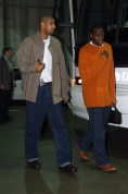 Tim Duncan and Antonio Daniels arrive at the Compaq Center in Houston, Texas.