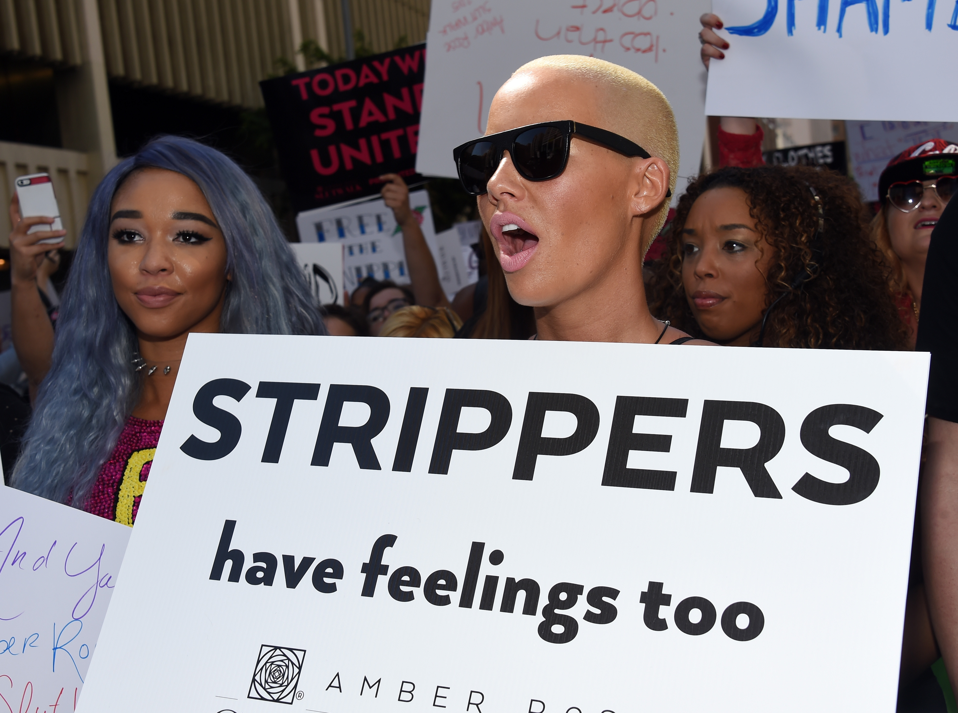 Model Amber Rose attends the Amber Rose SlutWalk LA at Pershing Square on October 3, 2015 in Los Angeles, California.