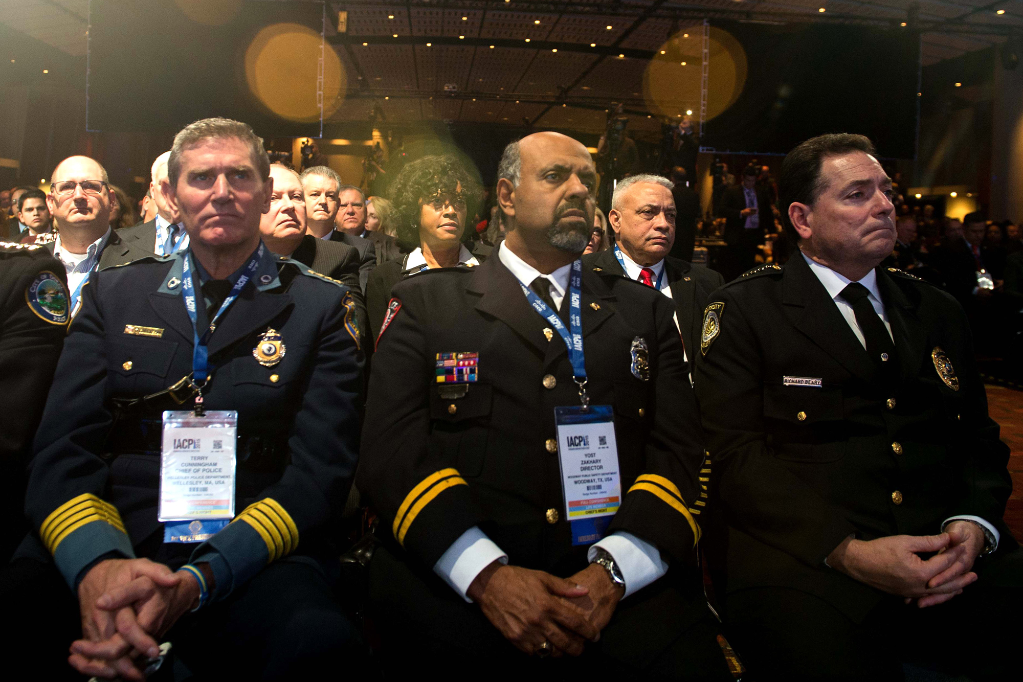 Law enforcement officers listen to US President Barack Obama speak at the International Association of Chiefs of Police Annual Conference and Exposition in Chicago on October 27, 2015.