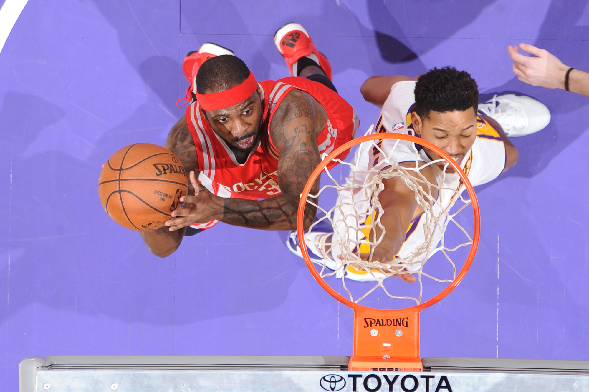 Ty Lawson #3 of the Houston Rockets goes to the basket against the Los Angeles Lakers on January 17, 2016 at STAPLES Center in Los Angeles, California.