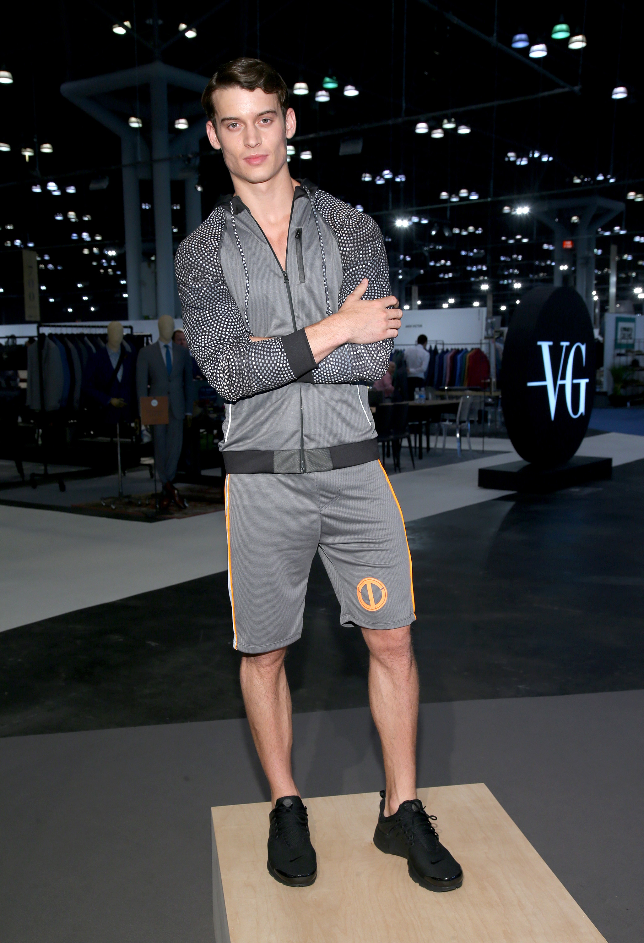 NEW YORK, NY - JULY 18: A model poses wearing Prototype 81 Collection by Terrell Owens at the Preview of Prototype 81 Collection at the Jacob Javits Center on July 18, 2016 in New York City.