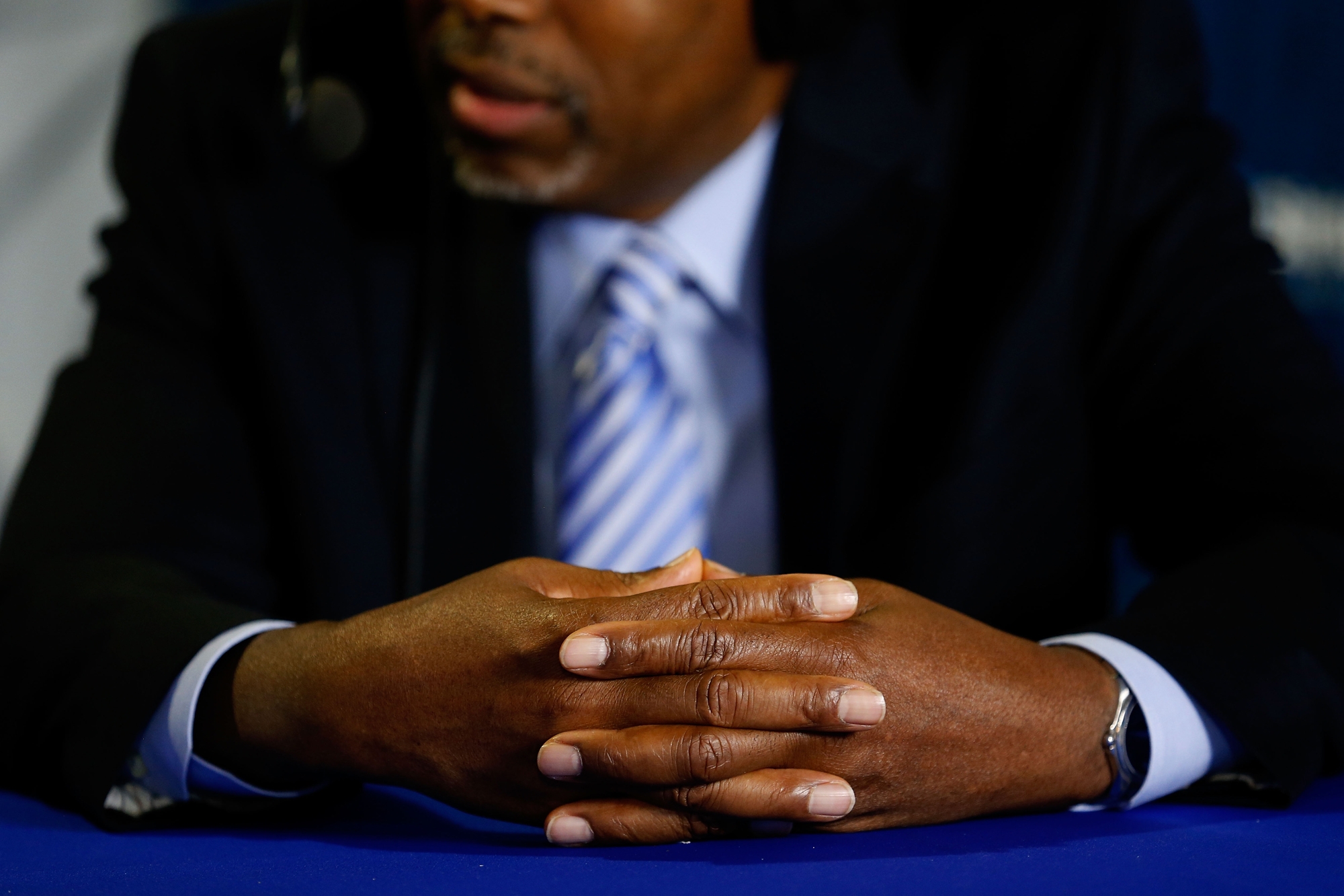 Dr. Ben Carson talks with Armstrong Williams during a taping of the Armstrong Williams Show on SiriusXM at Quicken Loans Arena on July 18, 2016 in Cleveland, Ohio.