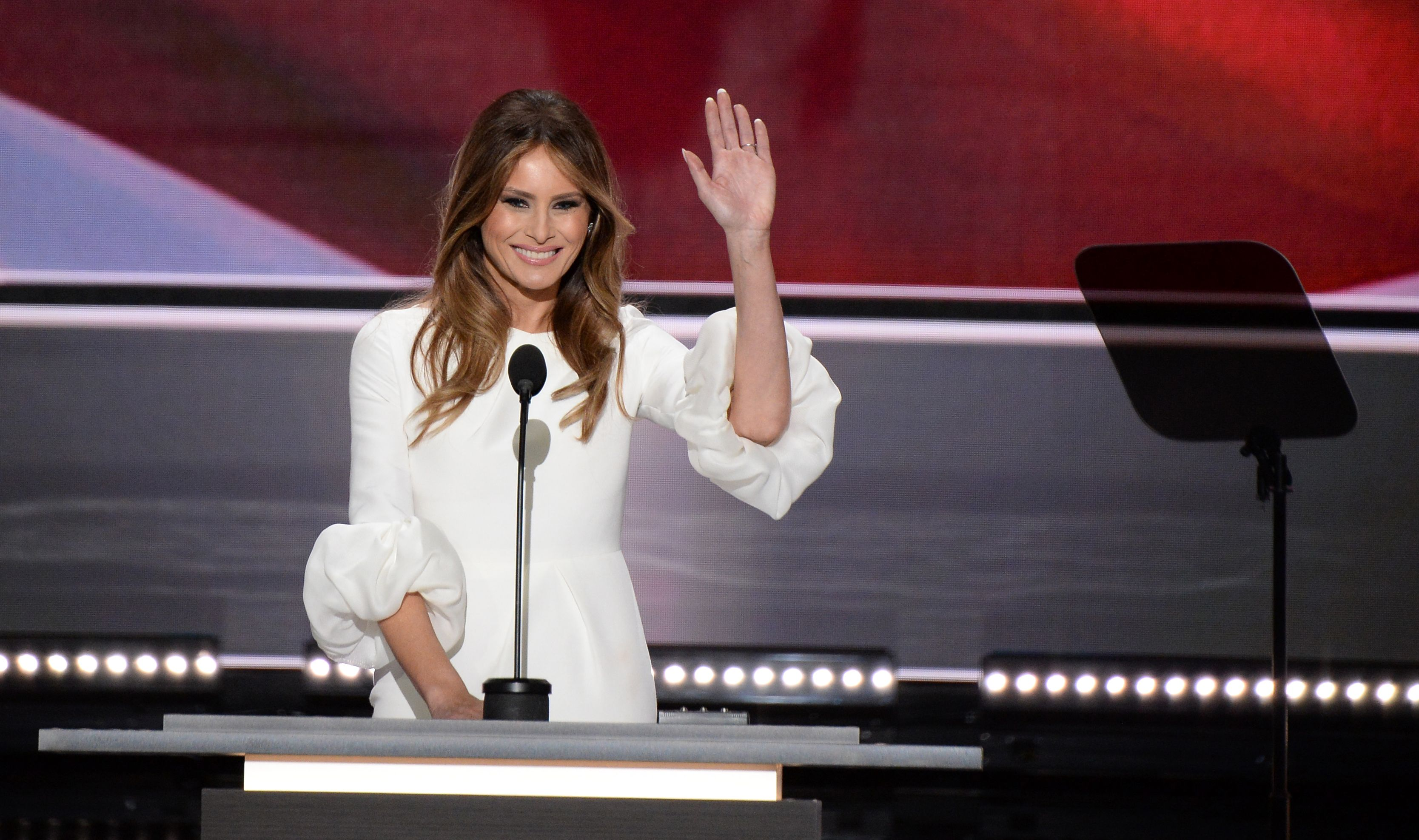 Melania Trump, wife of Republican presidential nominee Donald Trump, addresses delegates on the first day of the Republican National Convention on July 18, 2016, at Quicken Loans Arena in Cleveland.