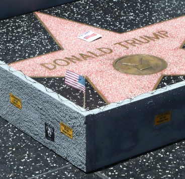 Wall Placed Around The Hollywood Walk Of Fame Star Of Donald Trump