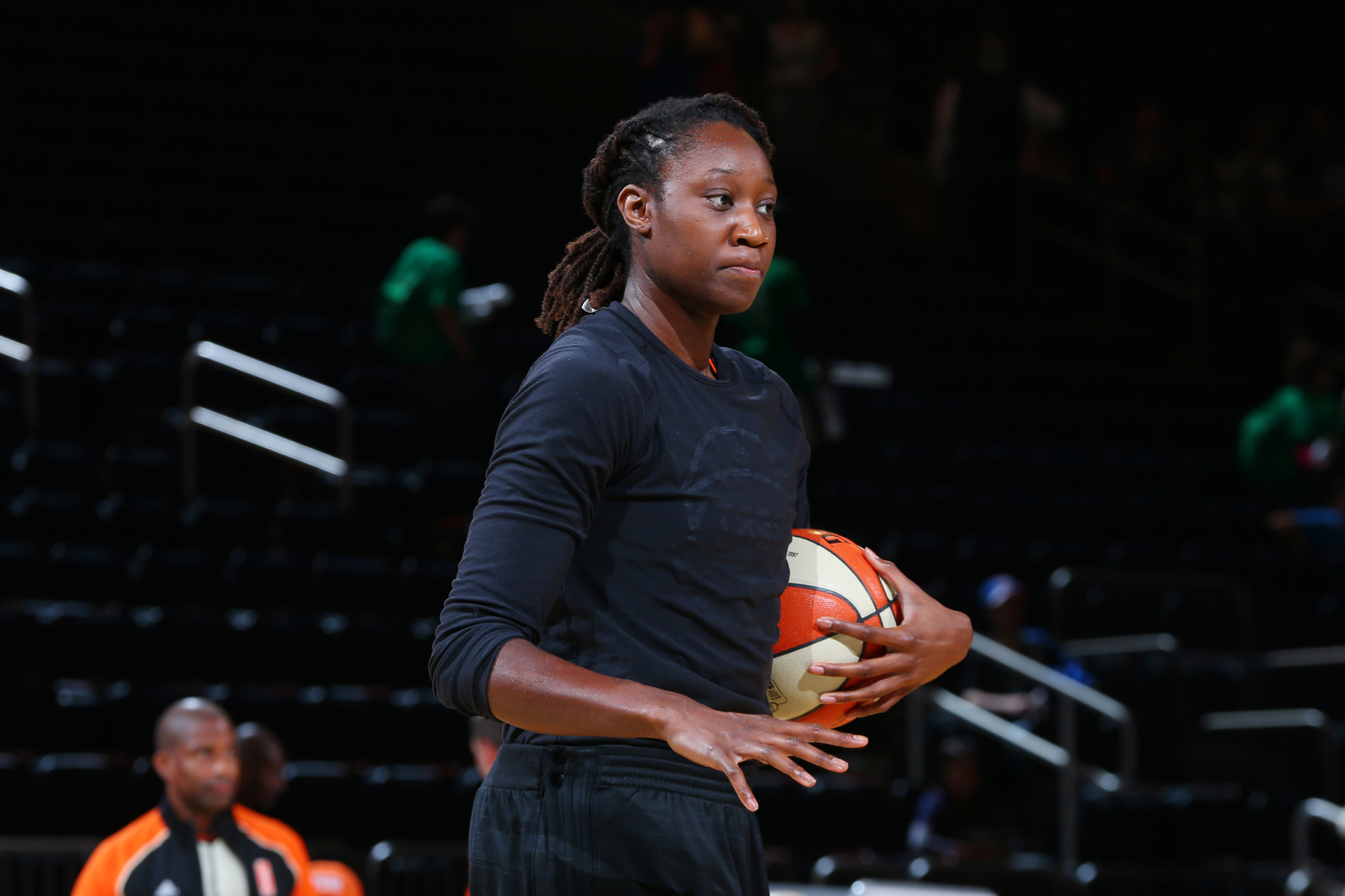 Tina Charles #31 of the New York Liberty warms up before the game against the Indiana Fever on July 21, 2016 at Madison Square Garden in New York, New York.
