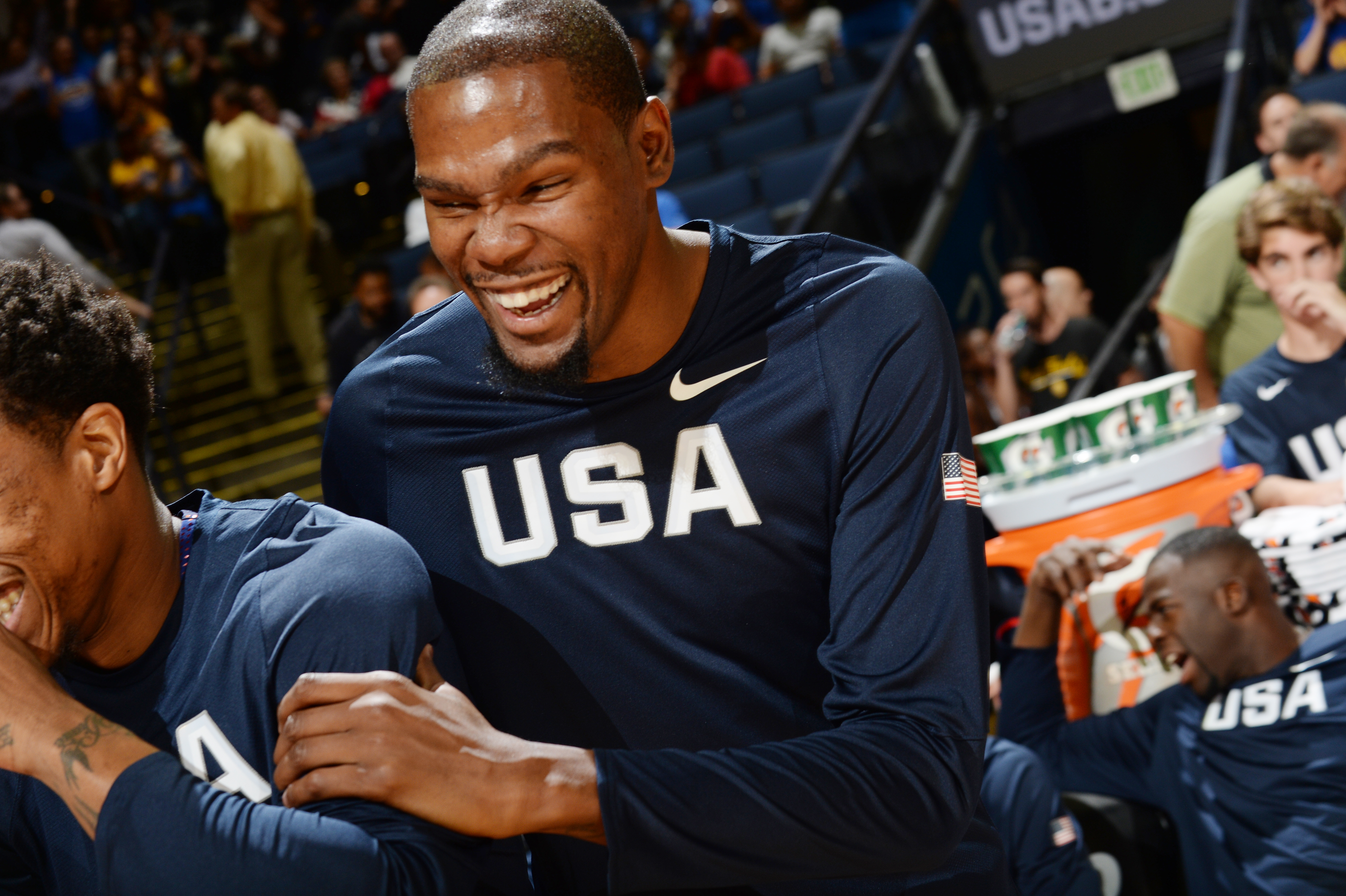 OAKLAND, CA - JULY 26: Kevin Durant #5 of the USA Basketball Men's National Team warms up before the game against China on July 26, 2016 at ORACLE Arena in Oakland, California.